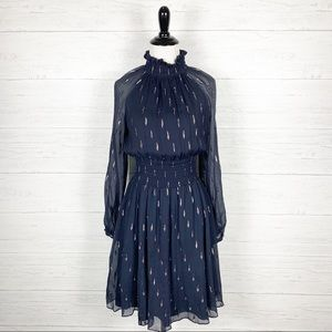 Rebecca Taylor • Navy Blue Metallic Chiffon Dress
